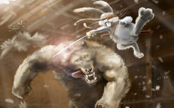 I don't know what's going on, but this picture is awesome.  It has a werewolf and some sort of rabbit samurai.  AWESOME!